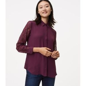 LOFT Lace Sleeve Blouse NWT!